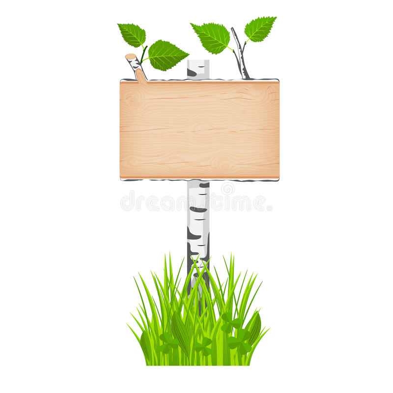 Insegna di legno del ceppo della betulla con le foglie verdi su un palo al gr illustrazione di stock