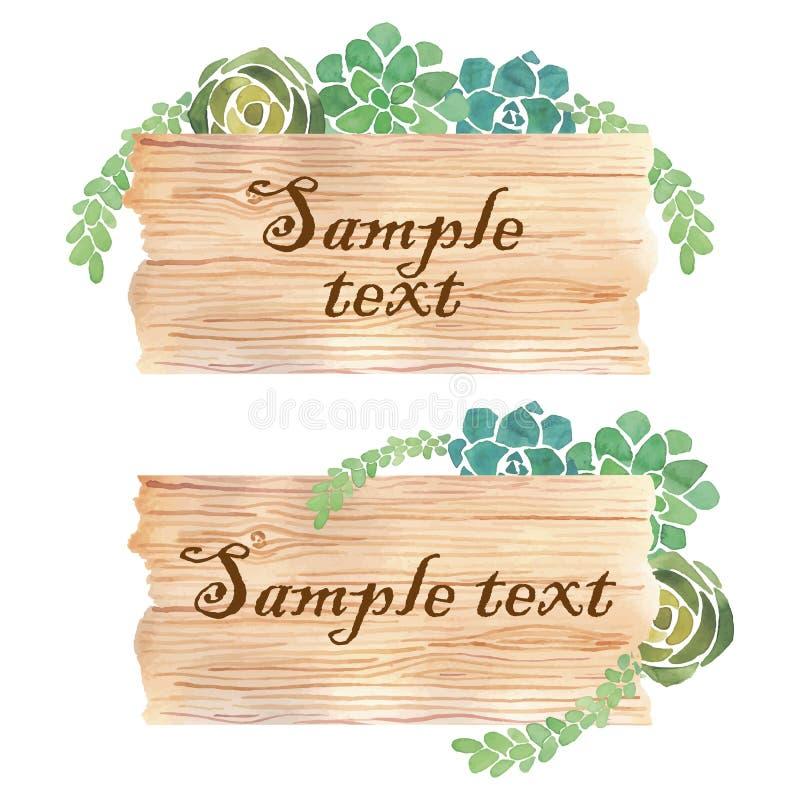 Insegna di legno della fetta dell'acquerello con i succulenti royalty illustrazione gratis