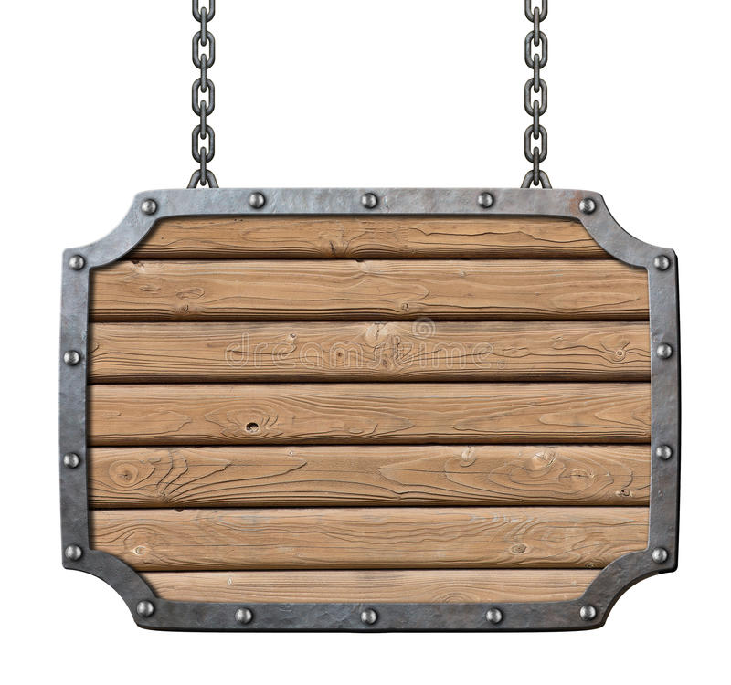 Insegna di legno delle plance della locanda medievale fotografia stock libera da diritti