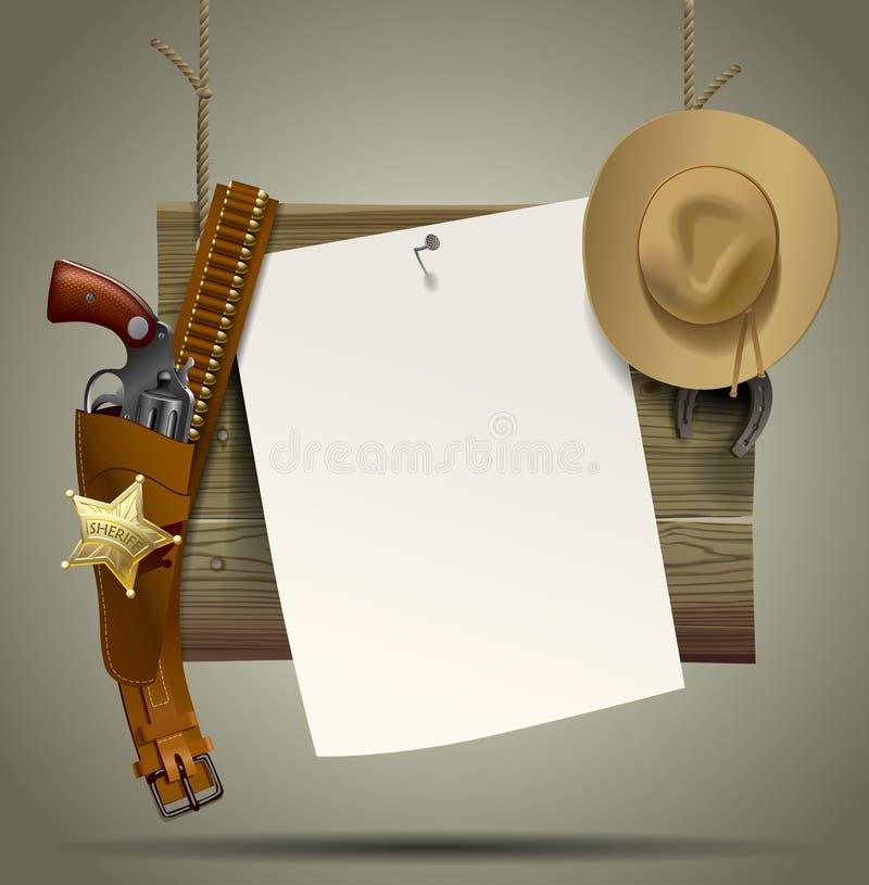 Insegna di legno di selvaggi West con un sus degli accessori del cowboy e dello strato illustrazione vettoriale