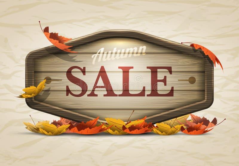 Insegna di legno di vendita di autunno illustrazione di stock