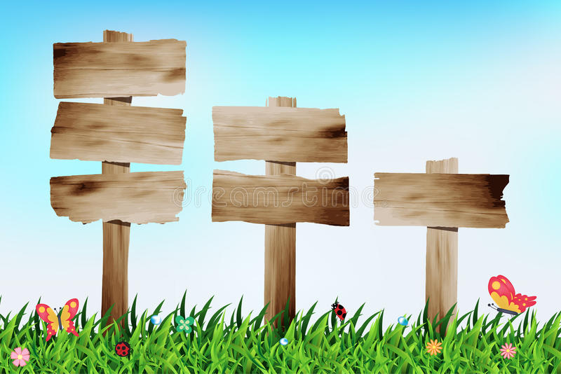 Insegna di legno di vettore con il campo di erba illustrazione vettoriale