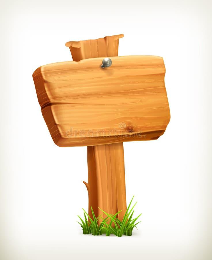 Insegna di legno, segno di vettore illustrazione di stock