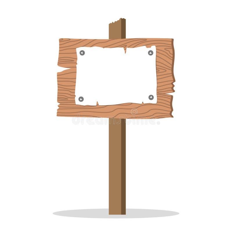 Insegna di legno Segno fatto di legno Tabellone per le affissioni in bianco illustrazione di stock