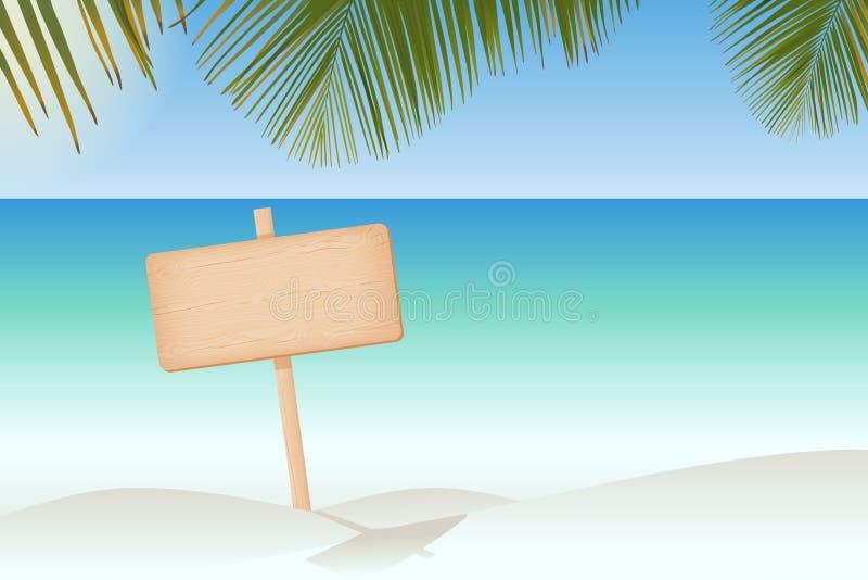 Insegna di legno su un palo alla spiaggia illustrazione vettoriale