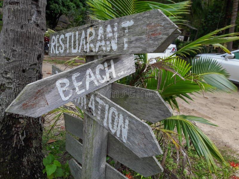 Insegna di legno sulla spiaggia tropicale immagine stock