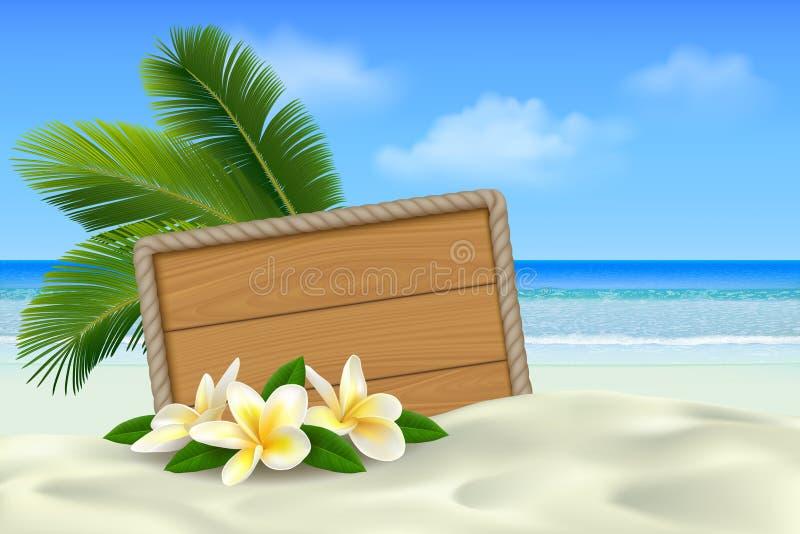 Insegna di legno sulla spiaggia tropicale con la sabbia, i fiori di plumeria e le foglie di palma bianchi Fondo di estate con il  royalty illustrazione gratis
