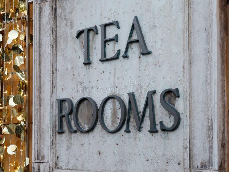 Insegna di marmo delle stanze del tè fotografia stock libera da diritti
