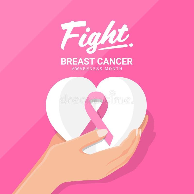 Insegna di mese di consapevolezza del cancro al seno di lotta con il nastro di rosa della tenuta della mano sul cuore di Libro Bi illustrazione vettoriale