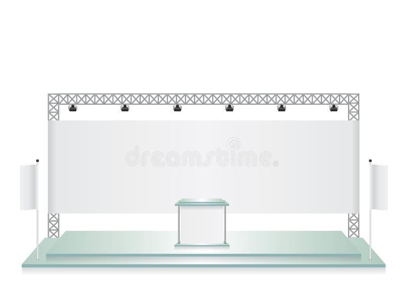 Insegna di mostra di vetro commerciale del supporto e della bandiera bianca illustrazione vettoriale