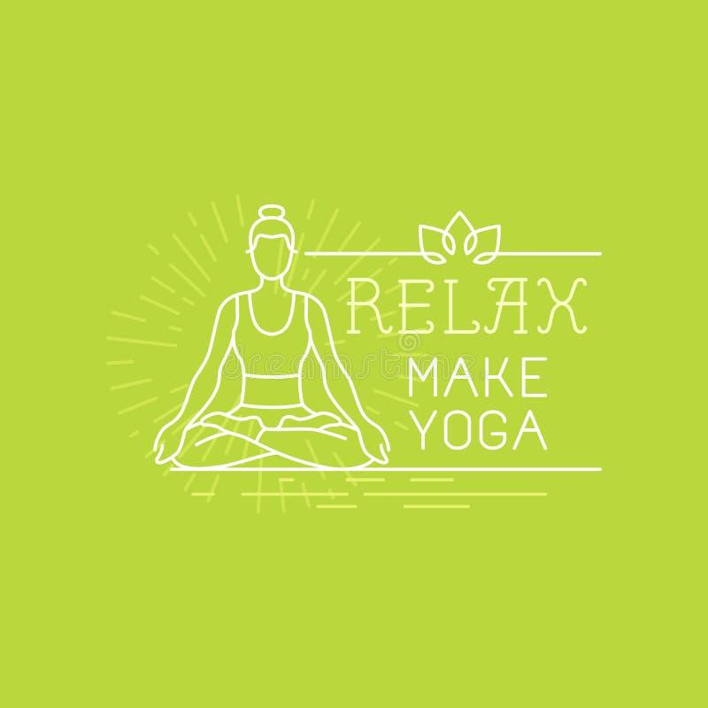 Insegna di motivazione di yoga e di sport di vettore illustrazione vettoriale