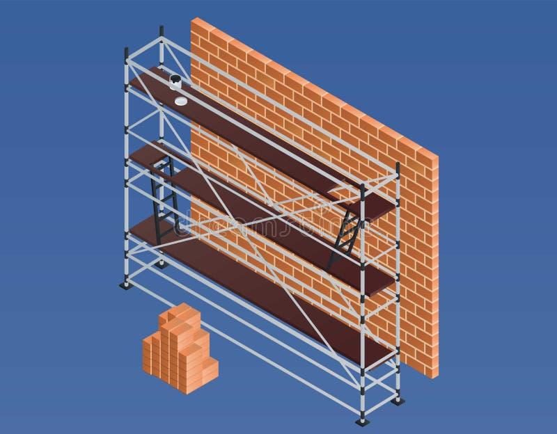 Insegna di muro di mattoni dell'impalcatura, stile isometrico illustrazione di stock
