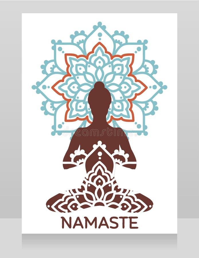 Insegna di Namaste con signora in asana del loto sull'ornamento della mandala royalty illustrazione gratis