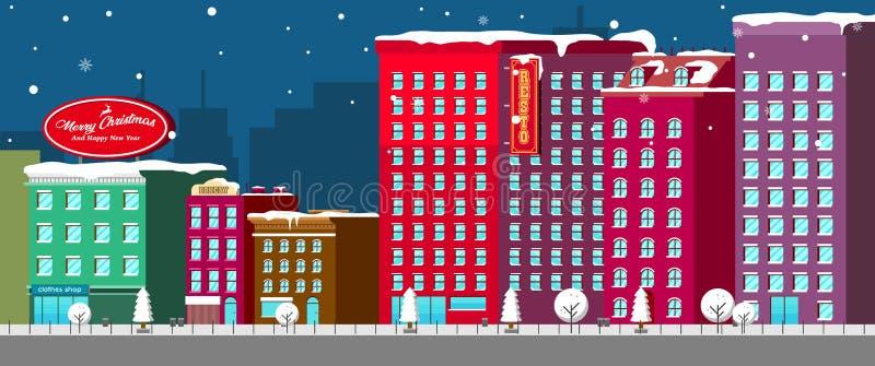 Insegna di Natale con il vettore del fondo di vista di notte della città illustrazione vettoriale