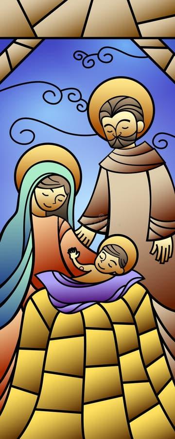 Insegna di natività del vetro macchiato di Natale illustrazione vettoriale