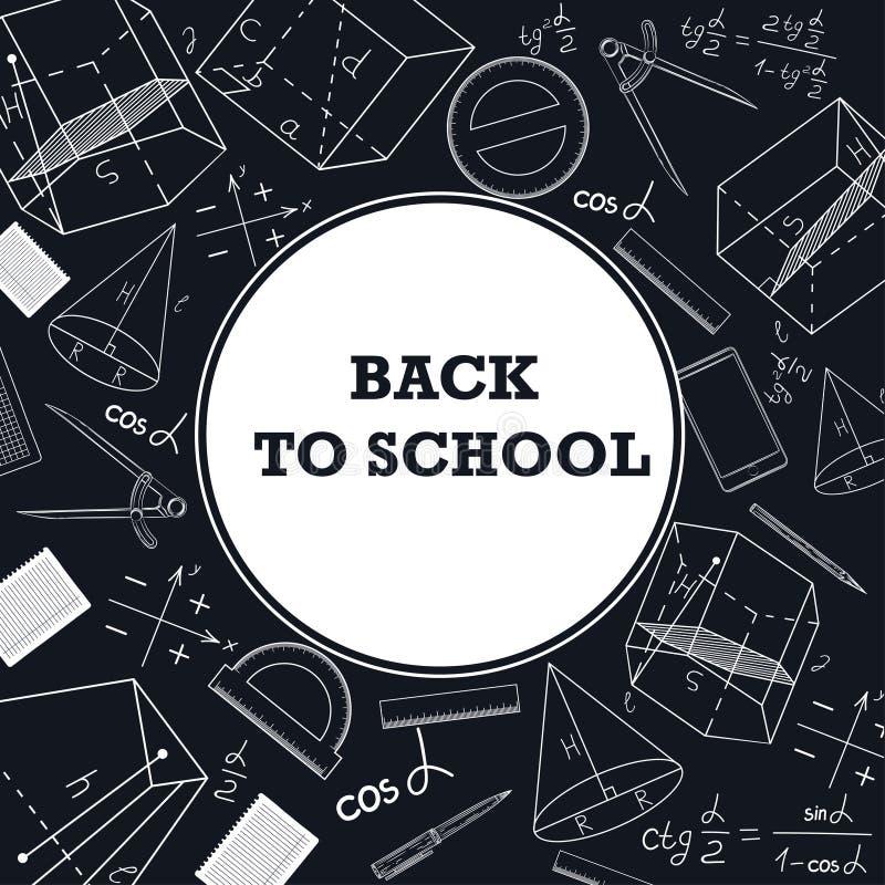 Insegna di nuovo a scuola con un'immagine dei rifornimenti di scuola su una lavagna illustrazione vettoriale