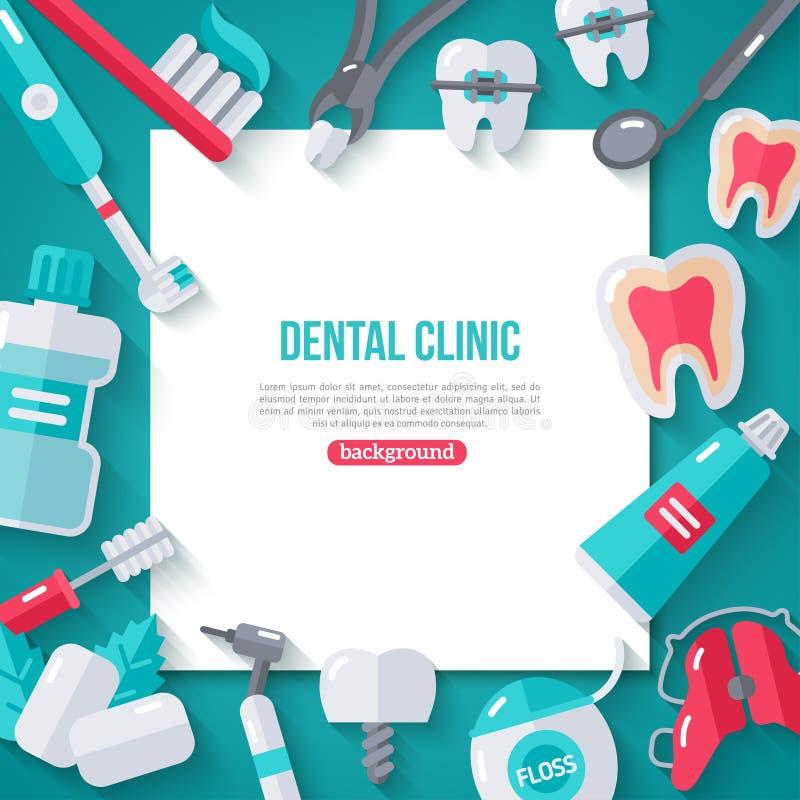 Insegna di odontoiatria con le icone piane illustrazione vettoriale