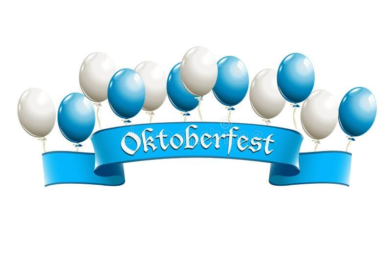 Insegna di Oktoberfest con i palloni illustrazione di stock