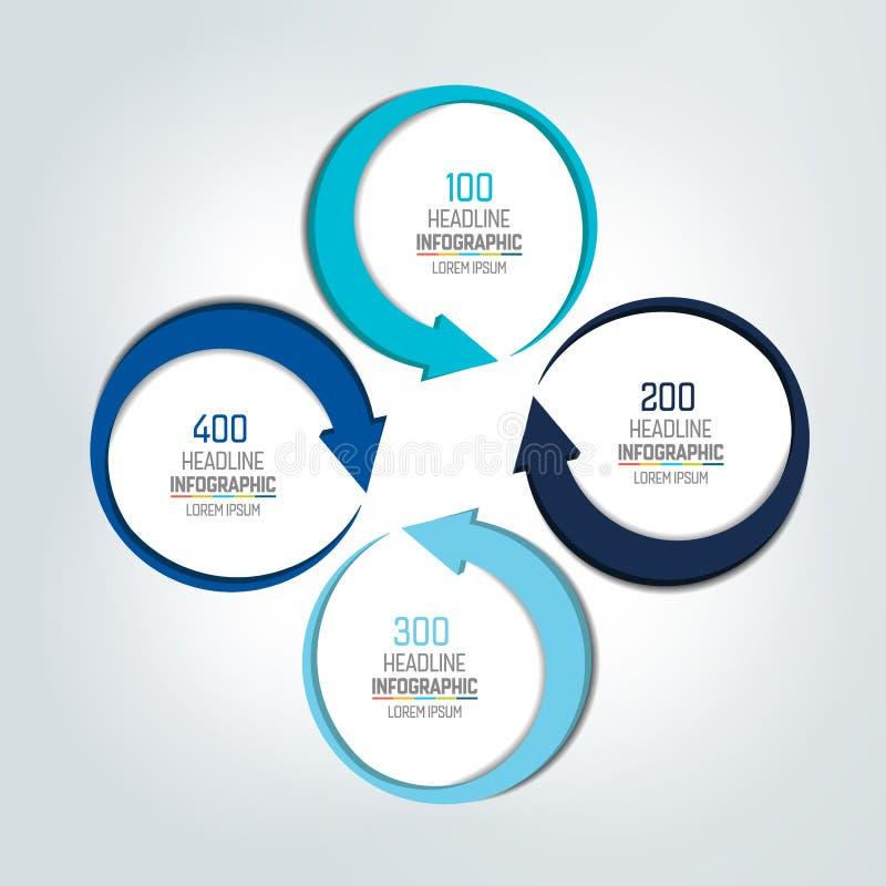 Insegna di opzioni del cerchio di Infographic fatta di 4 frecce illustrazione vettoriale