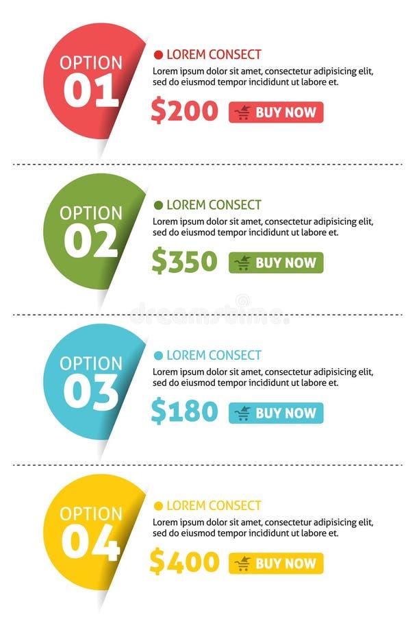 Insegna di opzioni di numero di vettore con il bottone dell'affare illustrazione di stock