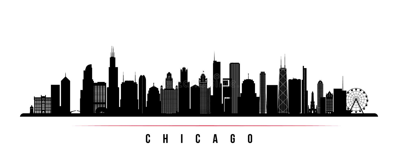 Insegna di orizzontale dell'orizzonte della città di Chicago royalty illustrazione gratis