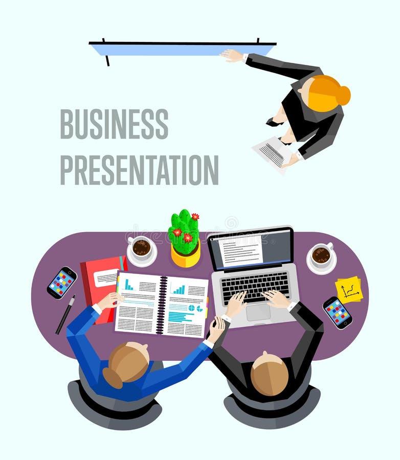 Insegna di presentazione di affari di vista superiore illustrazione di stock