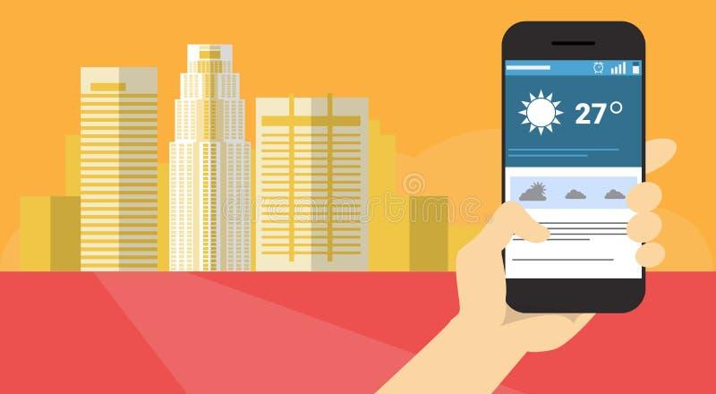 Insegna di previsioni del tempo di applicazione dello Smart Phone delle cellule della tenuta della mano royalty illustrazione gratis