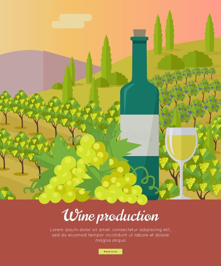 Insegna di produzione vinicola Manifesto per la vite bianca royalty illustrazione gratis