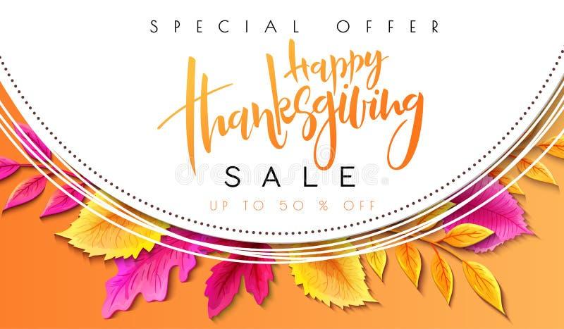 Insegna di promoution di ringraziamento di saluto di vettore con l'etichetta dell'iscrizione della mano - ringraziamento felice - royalty illustrazione gratis