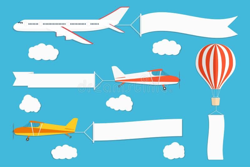 Insegna di pubblicità di volo Aerei e mongolfiera con le insegne orizzontali e verticali sul fondo del cielo blu illustrazione vettoriale