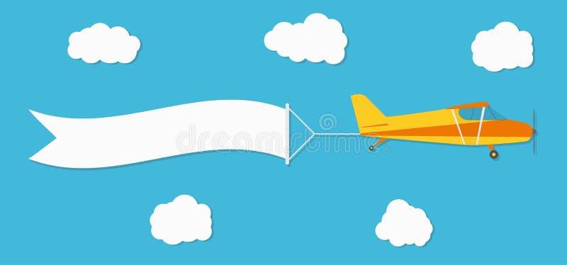 Insegna di pubblicità di volo Aereo con l'insegna orizzontale sul fondo del cielo blu illustrazione di stock