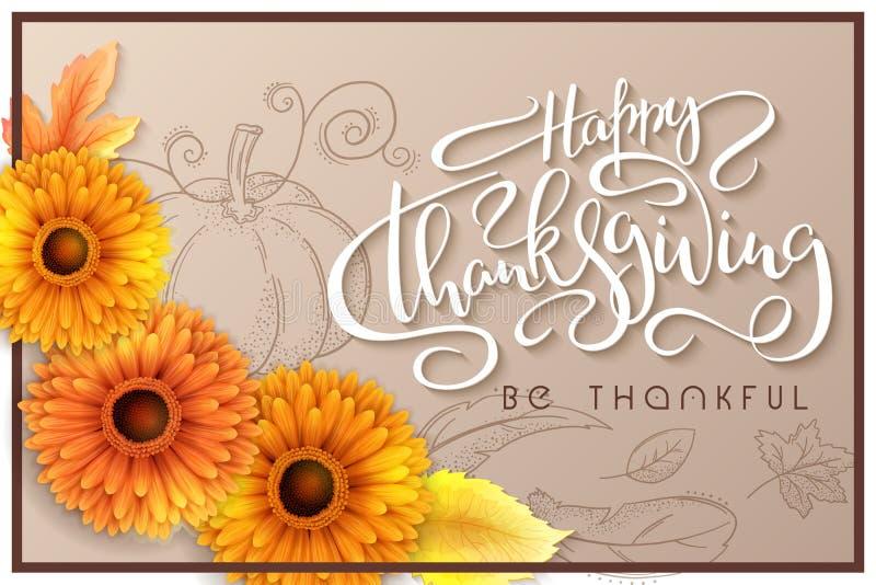 Insegna di ringraziamento di saluto di vettore con l'etichetta dell'iscrizione della mano - ringraziamento felice - con le foglie illustrazione vettoriale