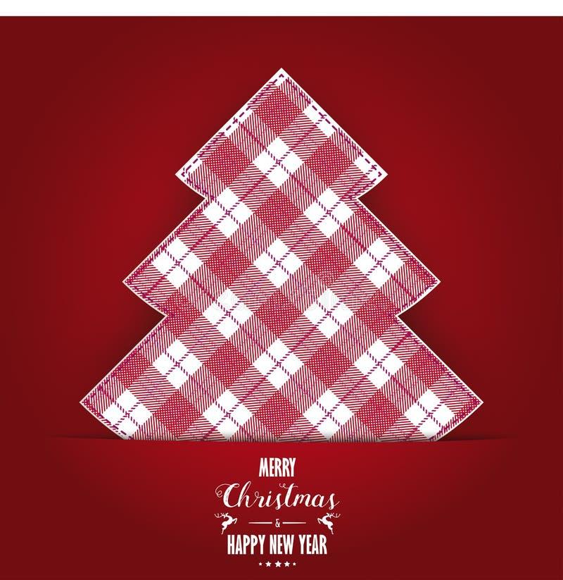 Insegna di rosso del panno controllata albero di Buon Natale illustrazione di stock