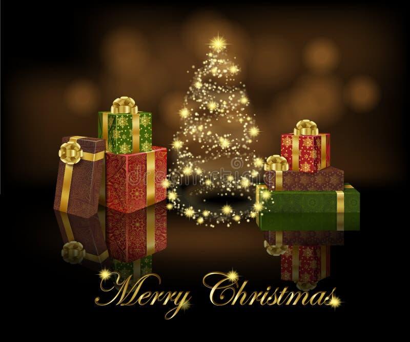 Insegna di saluto con l'albero di Natale ed il regalo scintillanti stilizzati royalty illustrazione gratis