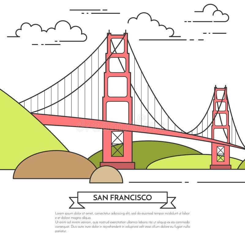 Insegna di San Francisco con la linea arte famosa di Golden Gate del ponte illustrazione vettoriale