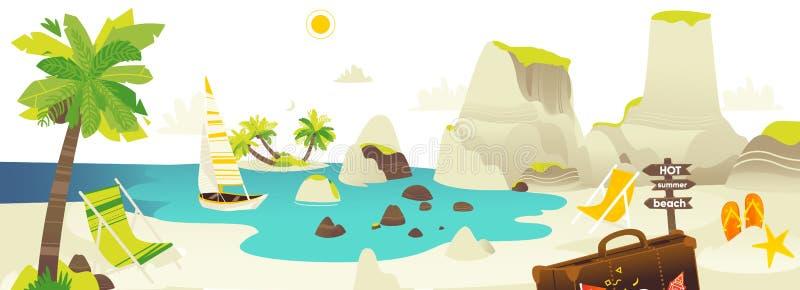 Insegna di scena della spiaggia con gli elementi di vacanze estive illustrazione vettoriale