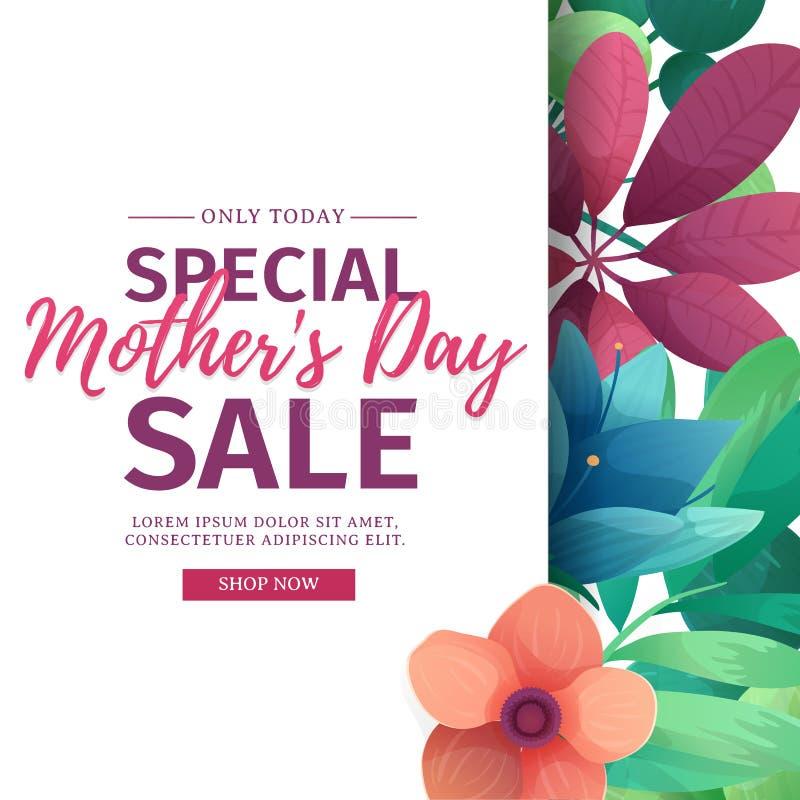 Insegna di sconto di progettazione del modello per il giorno felice del ` s della madre Manifesto quadrato per la vendita special illustrazione vettoriale
