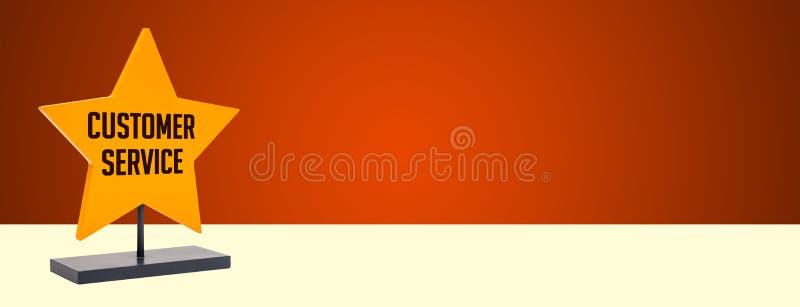 Insegna di servizio di assistenza al cliente con lo spazio giallo della copia di inizio fotografia stock