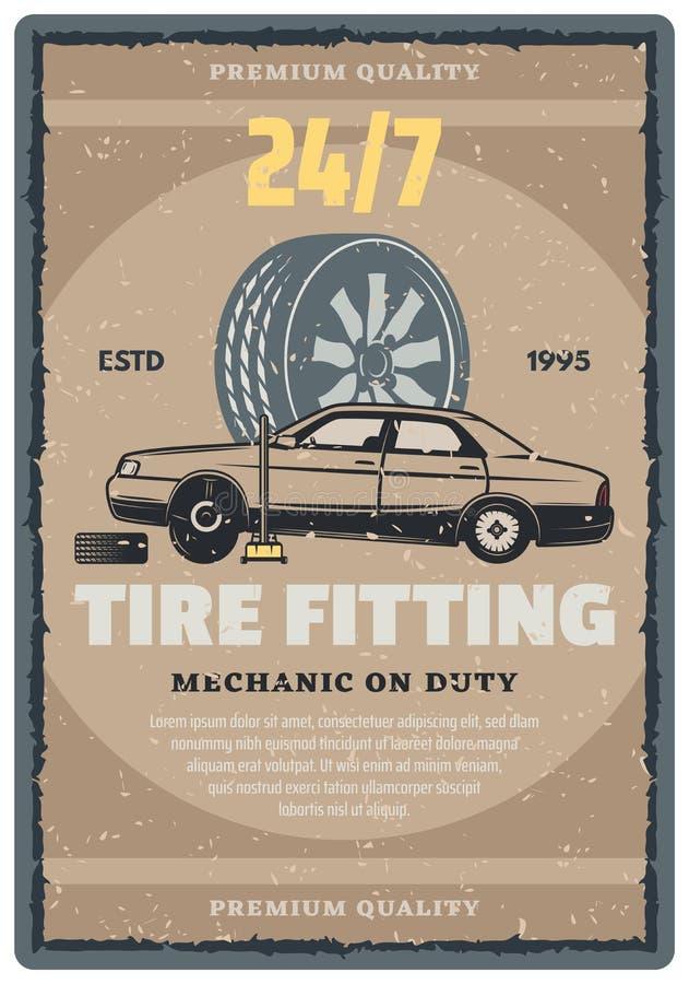 Insegna di servizio di riparazione dell'automobile retro, progettazione del negozio della gomma illustrazione vettoriale