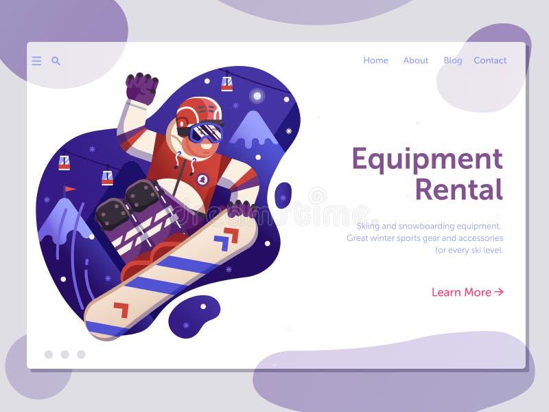 Insegna di snowboard e di corsa con gli sci illustrazione di stock