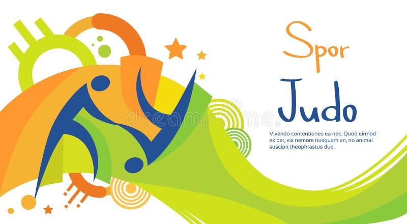 Insegna di Sport Competition Colorful dell'atleta di judo royalty illustrazione gratis