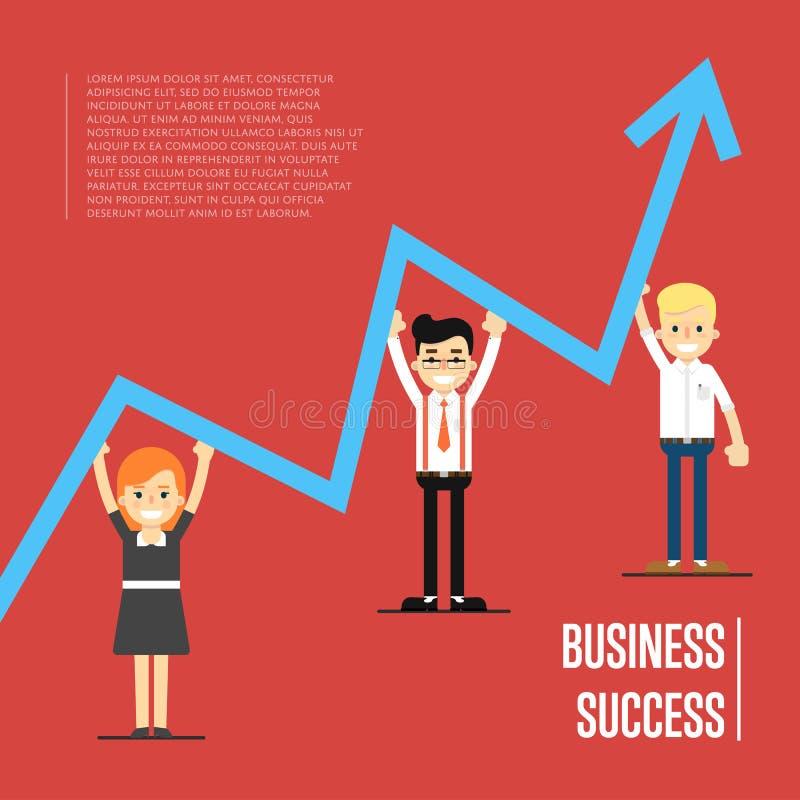 Insegna di successo di affari con peole illustrazione vettoriale