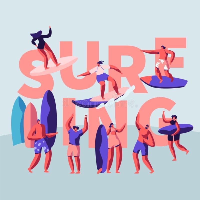 Insegna di superficie praticante il surfing dello sport acquatico Il surfista rappresenta una diversa cultura basata di guida del illustrazione di stock