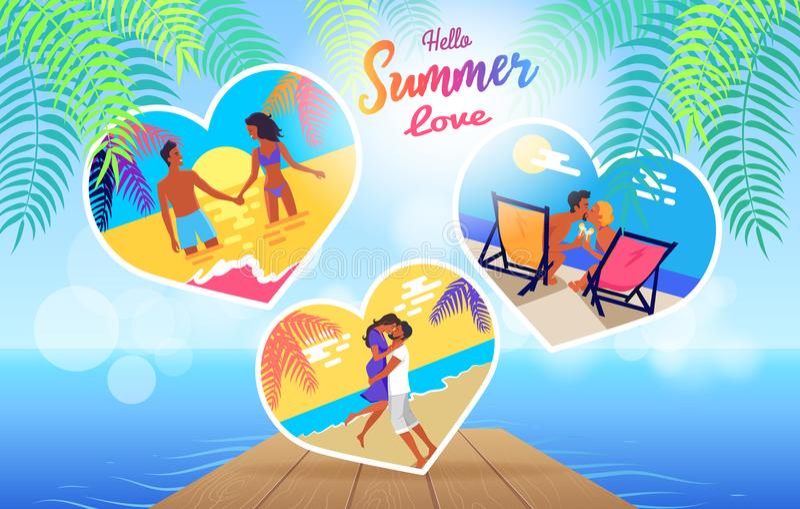 Insegna di tempo di amore di estate con le foto delle coppie illustrazione di stock
