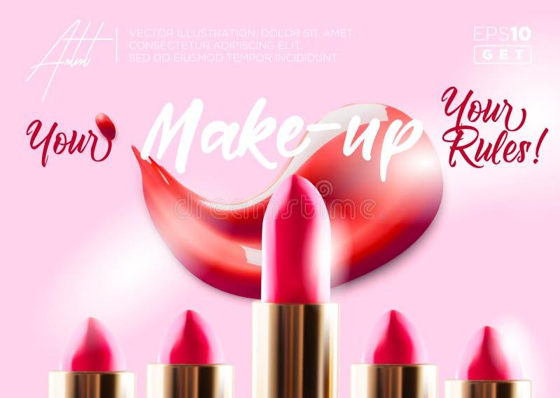 Insegna di trucco del rossetto di modo Bellezza e fondo dei cosmetici Uso per l'aletta di filatoio di pubblicit?, insegna, opusco illustrazione di stock
