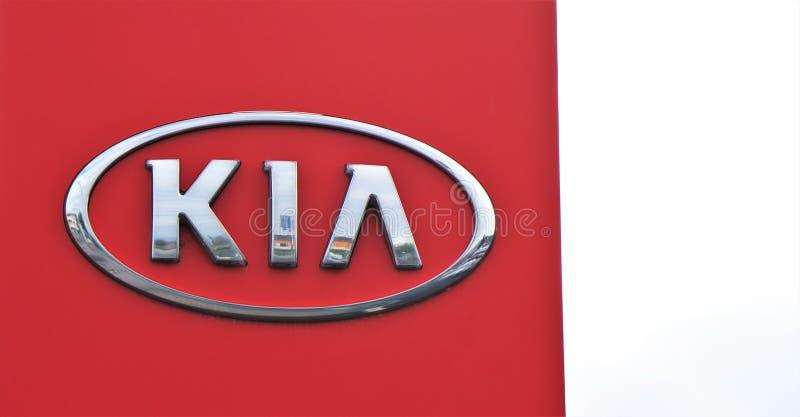 Insegna di un deposito di Kia Marca coreana di automobile immagini stock libere da diritti