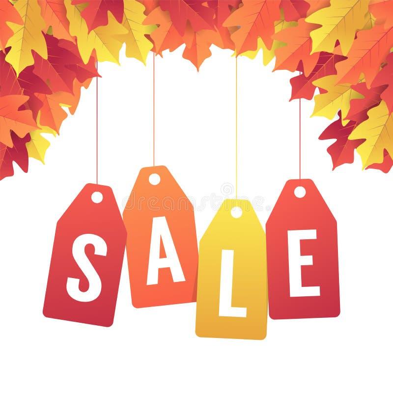Insegna di vendita di autunno con le foglie variopinte di caduta Fondo rosso e giallo di autunno variopinto delle foglie illustrazione vettoriale
