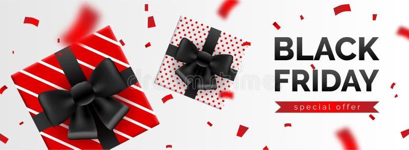 Insegna di vendita di Black Friday, modello per la promozione sociale della posta di media illustrazione vettoriale