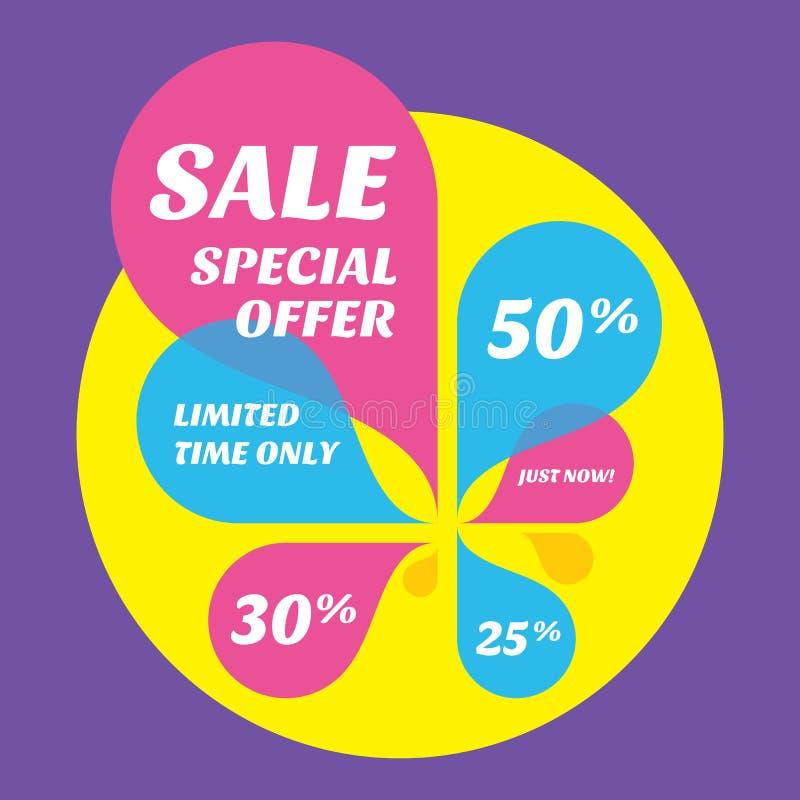 Insegna di vendita con i petali colorati estratto Sconto di offerta speciale Tempo limitato soltanto Ora Disposizione creativa illustrazione di stock