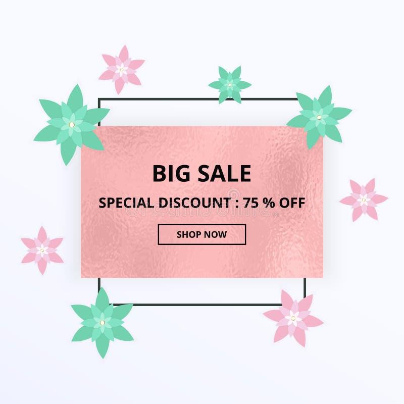 Insegna di vendita della primavera con i fiori rosa e verdi, struttura della stagnola Modello per acquisto online, progettazioni, illustrazione di stock